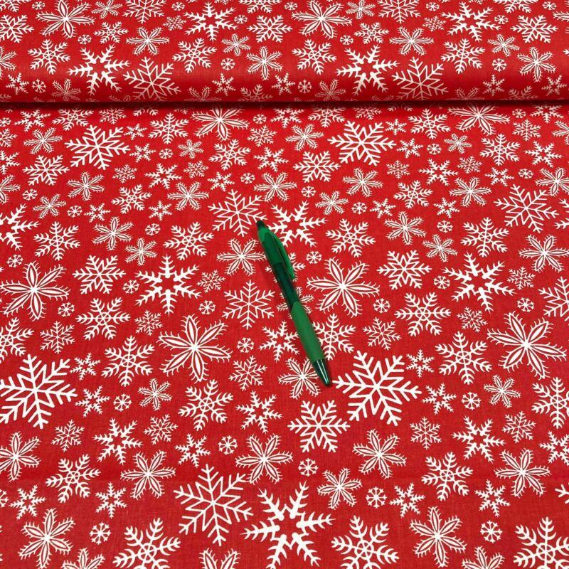 piros alapon fehér hópehely mintás pamut karton